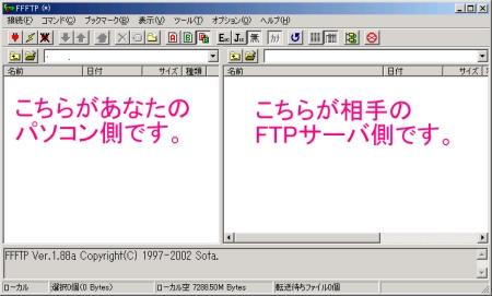 左(自分のパソコン側)と右(FTPサーバ側)の画面に分かれています。